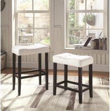 Casual White Upholstered Counter-height Stool