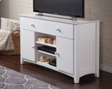 Nantucket 2 Drawer 50 inch Entertainment Console 30x50 with Adjustable Shelves in White
