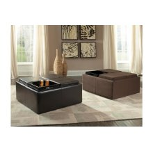 Cocktail Ottoman with Casters, Mocha Rhino Microfiber
