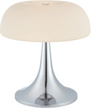 Table Lamp, Chrome/frost Glass Shade, E27 Cfl 11wx2