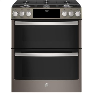 """GE Profile30"""" Slide-In Front-Control Gas Double Oven Convection Range"""