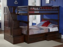 Columbia Staircase Bunk Bed Twin over Twin with Flat Panel Bed Drawers in Walnut