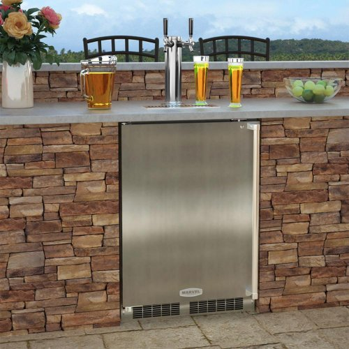 "Outdoor 24"" Twin Tap Built In Beer Dispenser - Marvel Refrigeration - Solid Stainless Steel Door With Lock - Left Hinge"
