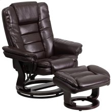 Contemporary Multi-Position Recliner with Horizontal Stitching and Ottoman with Swivel Mahogany Wood Base in Brown Leather