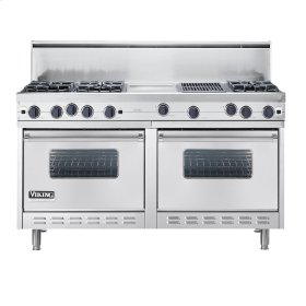 "Stainless Steel 60"" Open Burner Commercial Depth Range - VGRC (60"" wide, six burners 12"" wide griddle/simmer plate 12"" wide char-grill)"