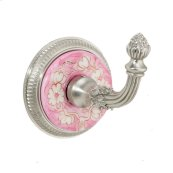 Brushed Nickel Ming Blossom Hand Painted China Knurled Hook