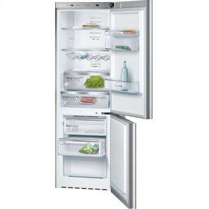 800 Series, Free-standing fridge-freezer-Glass on Stainless Steel