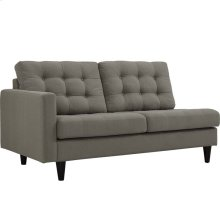 Empress Left-Facing Upholstered Fabric Loveseat in Granite