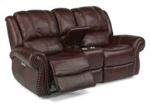 Patton Leather Power Reclining Loveseat with Console and Power Headrests