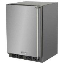 "24"" Outdoor Refrigerator with Drawer and Door Storage - Marvel Refrigeration - Solid Stainless Steel Door with Lock - Left Hinge"