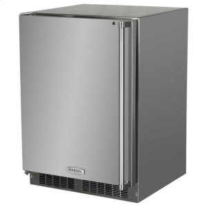 "Marvel24"" Outdoor Refrigerator with Drawer and Door Storage - Marvel Refrigeration - Solid Stainless Steel Door with Lock - Left Hinge"