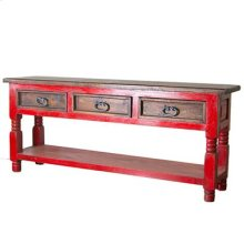 Red Painted/Walnut 3 Drawer Console