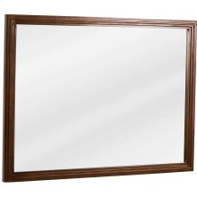 "44"" x 34"" Large reed-frame mirror with beveled glass and Walnut finish."