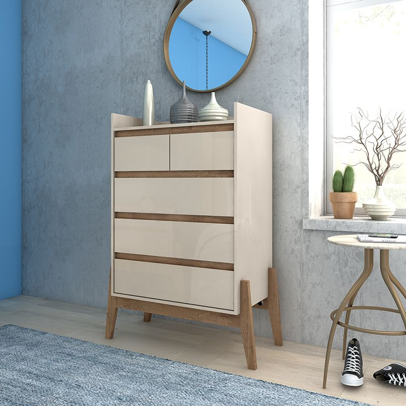 """Essence 48.23"""" Tall Dresser with 5 Full Extension Drawers in Off White"""