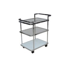 The Ferrara White / White Glass Bar Cart