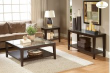 End Table with Glass Insert
