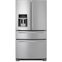 "Standard-Depth French Door Refrigerator with External Dispenser, 69""(h), Euro-Style Stainless Handle"