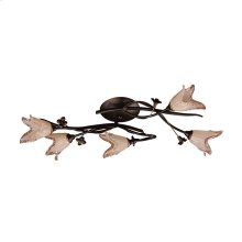 Fioritura 5-Light Flush Mount in Aged Bronze with Floral-shaped Glass
