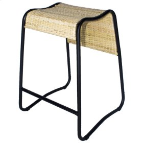 Kimi Rattan Bar stool Black Frame, Honey Natural