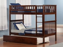 Woodland Bunk Bed Twin over Twin with Urban Trundle Bed in Walnut
