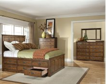 California King Panel Bed, (1) 3 Drawer Storage, (1) Univ Rail