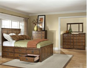 California King Panel Bed, (2) 6 Drawer Storage Rails