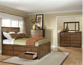 Queen Panel Bed, (2) 6 Drawer Storage Rails