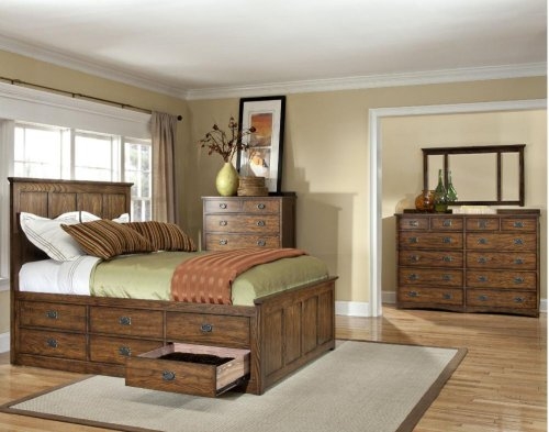 King Panel Bed, (2) 3 Drawer Storage Rails