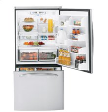 GE Profile 22.2 Cu. Ft. Stainless Steel-Wrapped Bottom-Freezer Drawer Refrigerator