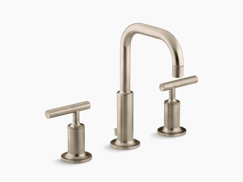 Vibrant Brushed Bronze Widespread Bathroom Sink Faucet With Low Lever Handles and Low Gooseneck Spout