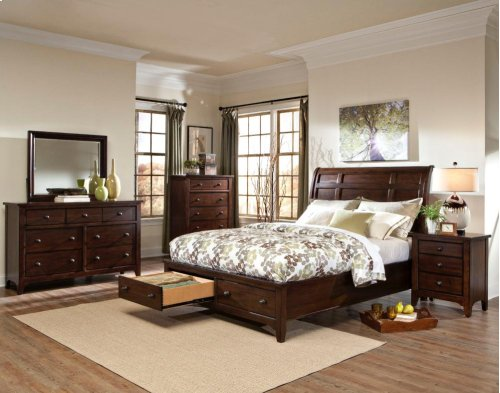 Jackson Sleigh Queen Bed-Storage Rails and Slats