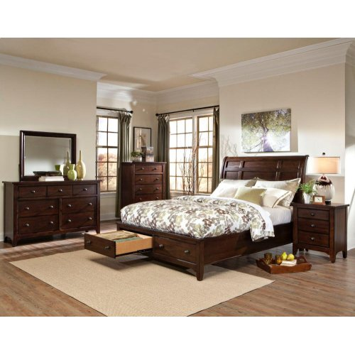 Jackson Sleigh King Bed-Storage Rails and Slats
