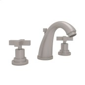 Satin Nickel Lombardia C-Spout Widespread Lavatory Faucet with Cross Handle