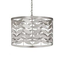 Large Leaf Motif Drum Pendant In Silver Leaf