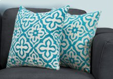 "PILLOW - 18""X 18"" / TEAL MOTIF DESIGN / 2PCS"