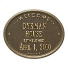 """Welcome Oval """"HOUSE"""" Established Personalized Plaque - Antique Brass Product Image"""