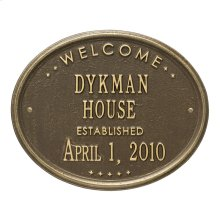 """Welcome Oval """"HOUSE"""" Established Personalized Plaque - Antique Brass"""