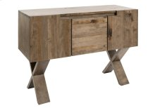 Console Table / 2 Doors With 1 Adjustable Wood Shelf Each / 1 Drawer-looking Door In the Center With 1 Adjustable Wood Shelf