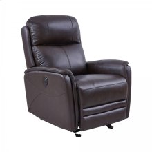 Wolfe Contemporary Dark Brown Top Grain Leather Power Recliner Chair with USB