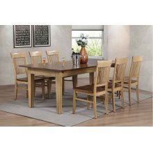 DLU-BR134-C70-PW7PC  7 Piece Rectangular Extendable Dining Table