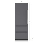 "SUB-ZERO30"" Designer Over-and-Under Refrigerator with Internal Dispenser - Panel Ready"