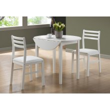 "DINING SET - 3PCS SET / WHITE WITH A 36""DIA DROP LEAF"