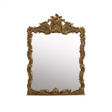 OVERSCALED BAROQUE MIRROR IN G RECIAN CRACKLED GOLD FINISH WI TH RUB THROUGH