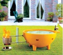 FireHotTub Round Fire Burning Portable Outdoor Light Blue Fiberglass Soaking Hot Tub