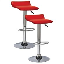 Red Adjustable Swivel Bar Stool #10042RD - Set of 2