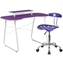 Purple Computer Desk with Monitor Platform and Tractor Chair