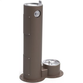 Elkay Outdoor Fountain Pedestal with Pet Station, Non-Filtered Non-Refrigerated, Freeze Resistant, Brown