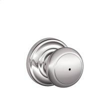 Andover Knob with Andover trim Bed & Bath Lock - Bright Chrome