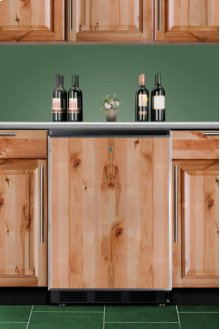 Commercially Approved Solid Door Wine Cellar for Built-in Use, With Black Exterior and Stainless Steel Frame To Accept Custom Panels