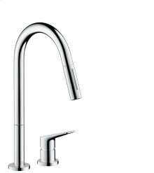 Chrome 2-hole single lever kitchen mixer with pull-out spray